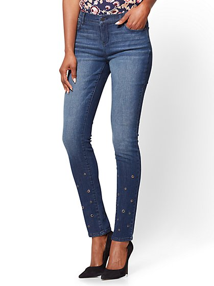 Soho Jeans - Grommet Accent Skinny Jeans - New York & Company