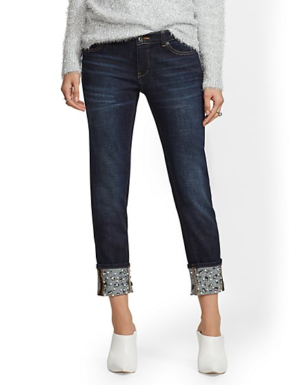 Soho Jeans - Jeweled-Hem Boyfriend Jeans - Ocean Blue - New York & Company