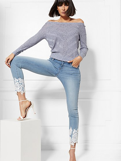 Soho Jeans - Lace-Hem Ankle Legging - Indigo Blue - New York & Company