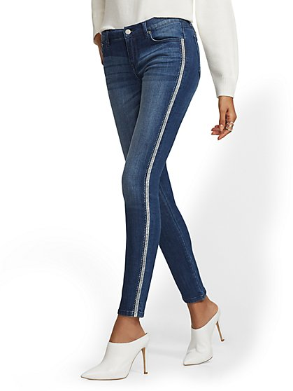Soho Jeans - Metallic-Trim Legging - Indigo - New York & Company