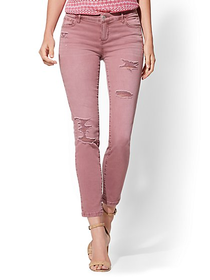 Soho Jeans - NY&C Runway - Destroyed Ankle Legging - Rose - New York & Company