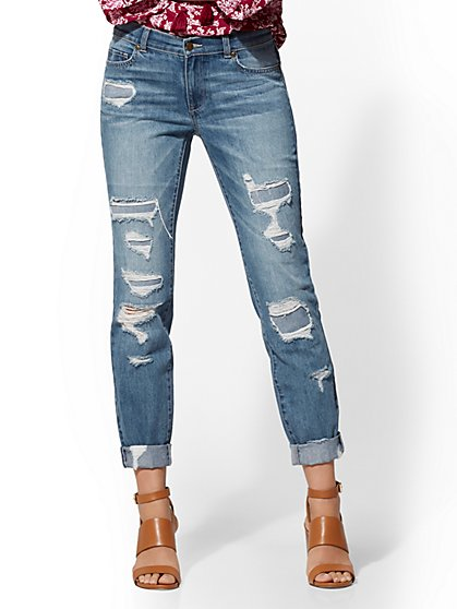 Soho Jeans - Retro Destroyed Curvy Boyfriend Jeans - Force Blue - New York & Company