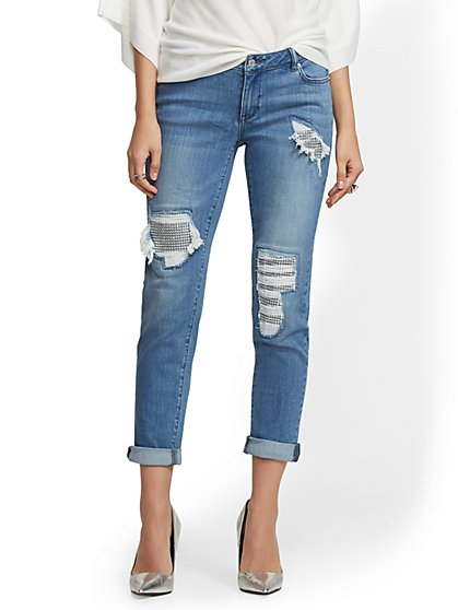 Soho Jeans - Rip & Repair Boyfriend Jeans - Blue Glass - New York & Company