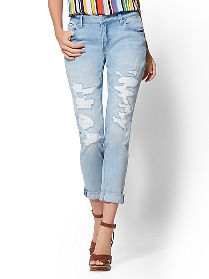 Soho Jeans - Rip & Repair Curvy Boyfriend - Blue Funk Wash - New York & Company