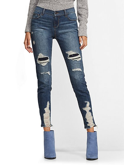 Soho Jeans - Rip & Repair Legging - Indigo - New York & Company