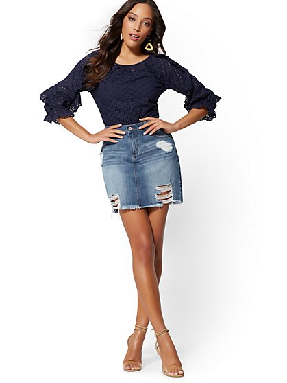 Soho Jeans - Rip & Repair Skirt - Indigo Blue - New York & Company