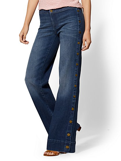 Soho Jeans - Side-Snap Wide Leg - Indigo - New York & Company