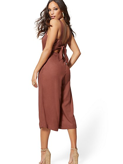 Soho Jeans - Tie-Back Jumpsuit - Sienna Blush - New York & Company