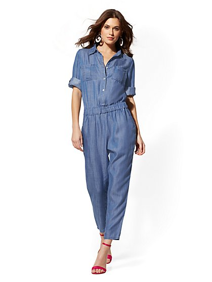 Soho Jeans - Ultra-Soft Chambray Jumpsuit - Indigo - New York & Company