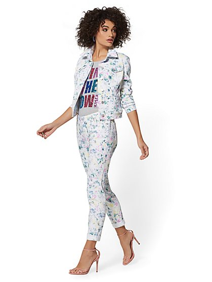 Soho Jeans - White Paint - Splatter Curvy Boyfriend - New York & Company