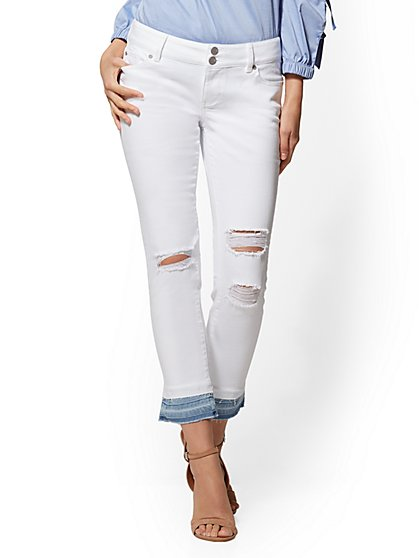Soho Jeans - White Released Hem Boyfriend Jeans - New York & Company