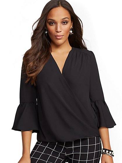 Soho Soft Shirt – Bell Sleeve Wrap Blouse - New York & Company