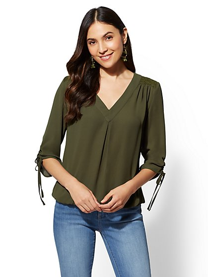 Soho Soft Shirt - Lace-Accent V-Neck Blouse - New York & Company
