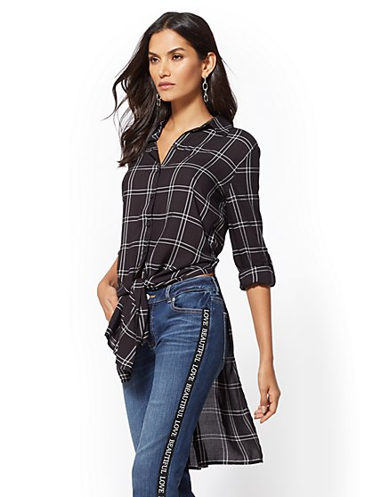 Soho Soft Shirt - Plaid Hi-Lo Tie-Front Tunic - New York & Company
