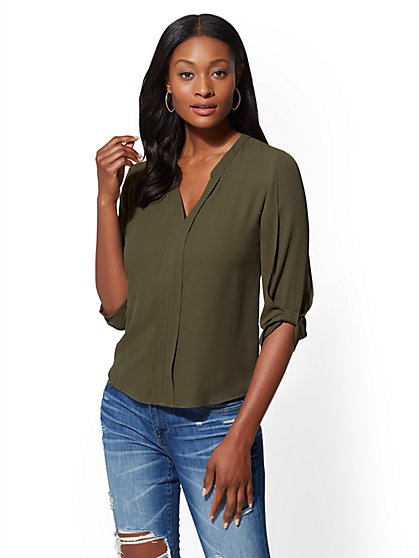 Soho Soft Shirt - Split-Neck Blouse - New York & Company