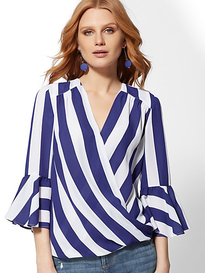 Soho Soft Shirt – Stripe Bell Sleeve Wrap Blouse - New York & Company