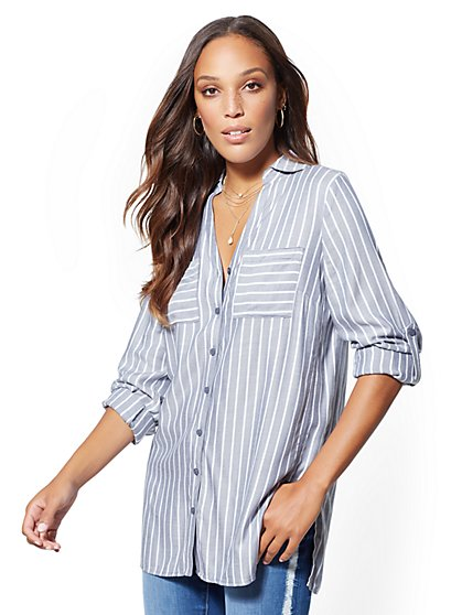 Soho Soft Shirt - Stripe Side-Panel Tunic - New York & Company