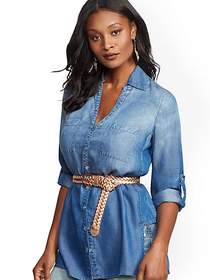 Soho Soft Shirt - Ultra-Soft Chambray Tunic - New York & Company
