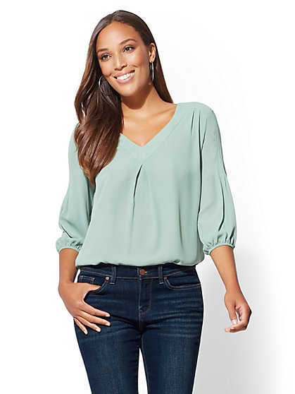 Soho Soft Shirt - V-Neck Pleated Blouse - New York & Company