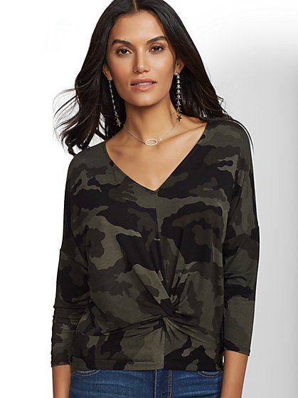 Soho Soft Tee - Camo Twist-Front Top - New York & Company