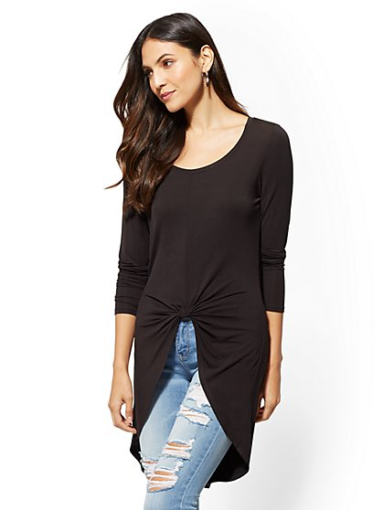 Soho Soft Tee - Knot-Front Tunic Top - New York & Company