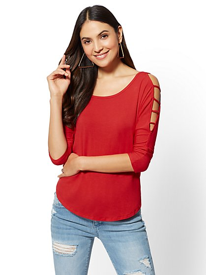 Soho Soft Tee - Ladder-Sleeve Top - New York & Company