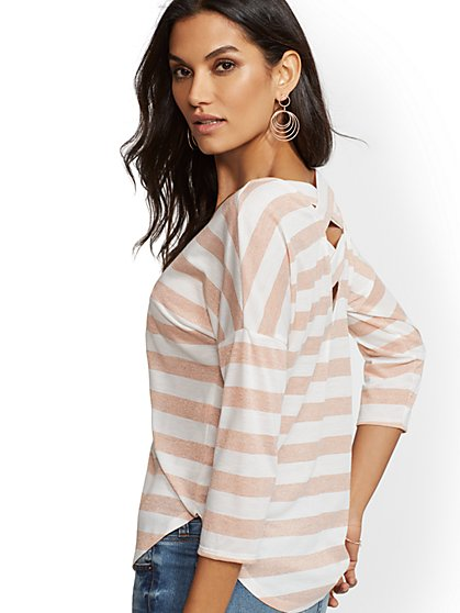 Soho Soft Tee - Metallic Stripe - Crisscross-Back - New York & Company