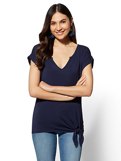 Soho Soft Tee - Side-Tie Split-Neck - New York & Company