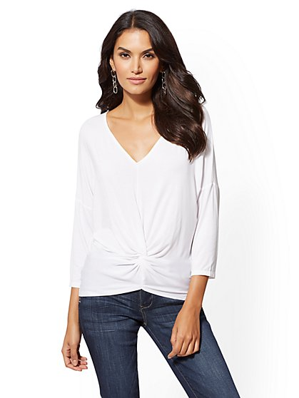 Soho Soft Tee - V-Neck Twist-Front Top - New York & Company