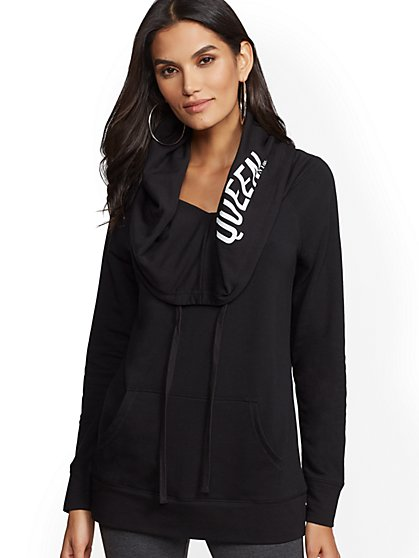 "Soho Street - Black Hooded Convertible ""Queen"" Sweatshirt - New York & Company"