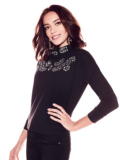 Soho Street - Embellished Mock-Neck Sweatshirt - Black - New York & Company