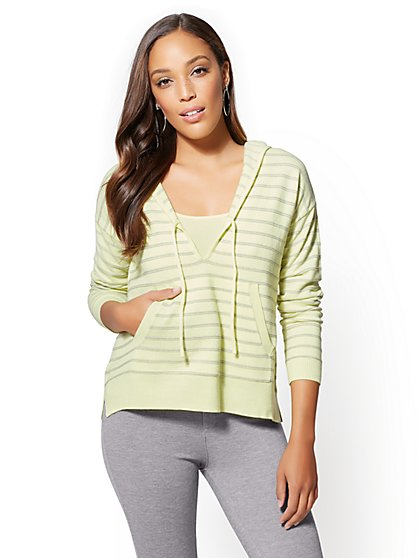 Soho Street - Hooded V-Neck Sweater - Stripe - New York & Company