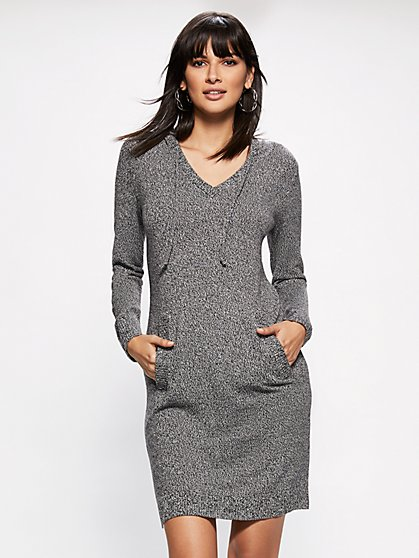 Soho Street - Marled Hooded Sweater Dress - New York & Company