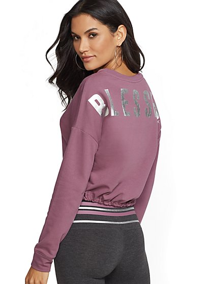 "Soho Street - Metallic-Foil ""Blessed"" Graphic Sweatshirt - New York & Company"