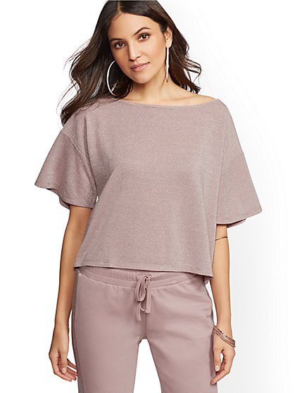 Soho Street - Metallic Short-Sleeve Top - New York & Company
