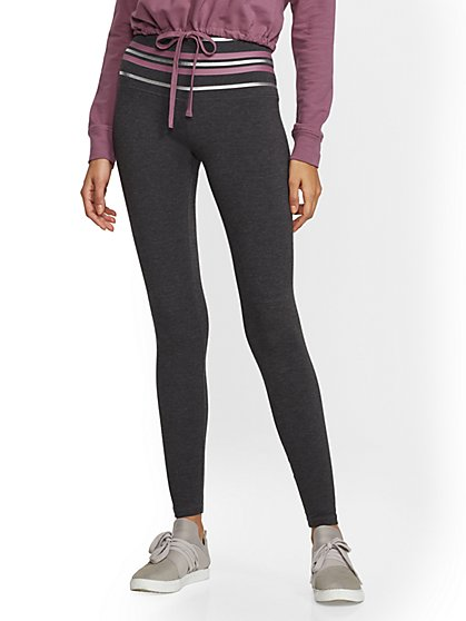 Soho Street - Metallic-Stripe High-Waist Yoga Legging - New York & Company