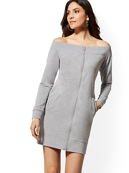 Soho Street - Off-The-Shoulder Sweatshirt Dress - New York & Company