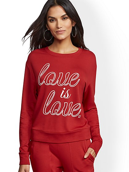 "Soho Street - Red Dreamy Fleece ""Love is Love"" Sweatshirt - New York & Company"