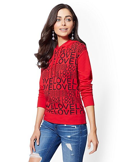 "Soho Street - Red ""Love"" Hooded Sweatshirt - New York & Company"