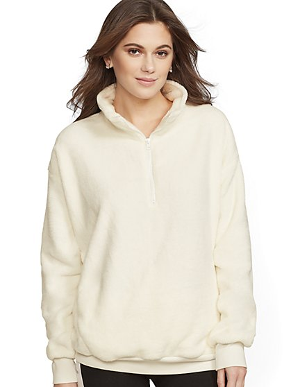 Soho Street - Sherpa Half-Zip Top - New York & Company