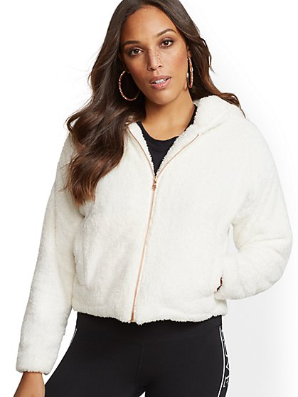 Soho Street - Sherpa Hooded Zip-Front Jacket - New York & Company