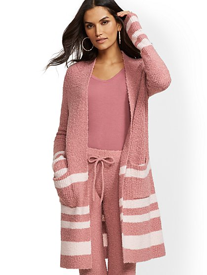 Soho Street - Stripe Boucle Duster Cardigan - New York & Company