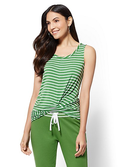 Soho Street - Stripe Twist-Front Tank Top - New York & Company
