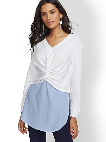 Soho Street Twist-Front Sweatshirt & Poplin Twofer Top - New York & Company