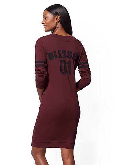 Soho Street - V-Neck Sweatshirt Dress - New York & Company