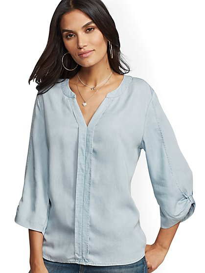 Soho Ultra-Soft Chambray Popover Tunic Shirt - New York & Company