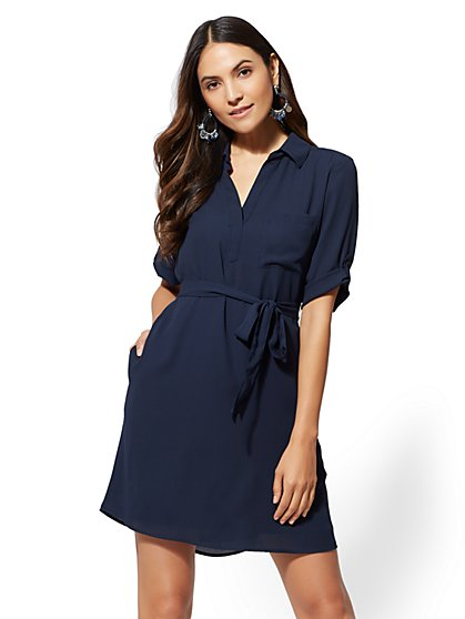 Solid Soft-Tie Shirtdress - New York & Company