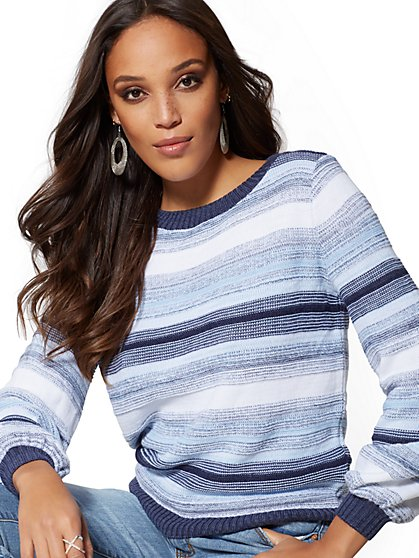 Space-Dye Stripe Sweater - New York & Company
