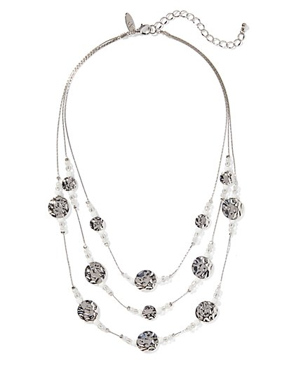 Sparkling 3-Row Illusion Short Necklace - New York & Company