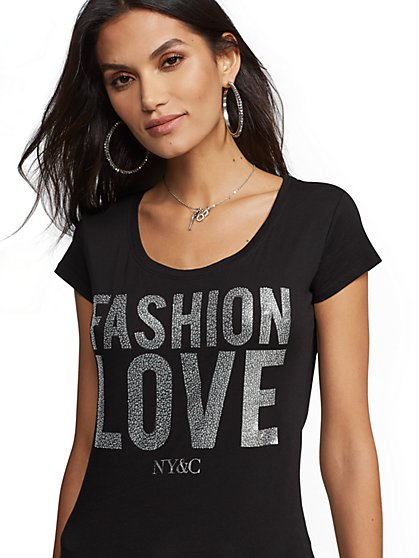 "Sparkling ""Fashion Love"" Graphic Logo Tee - New York & Company"